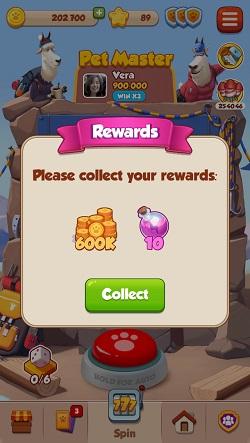 Recompensas de tiradas y monedas de Pet Master gratis